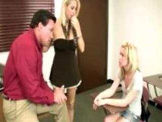 aged bimbo teaches teen stroking