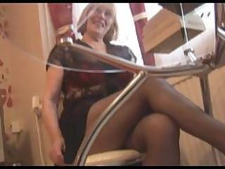 bushy granny in pantyhose striptease
