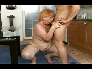 plump granny acquires a facial from a guy