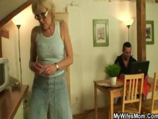 horny golden-haired granny sucks and bonks her