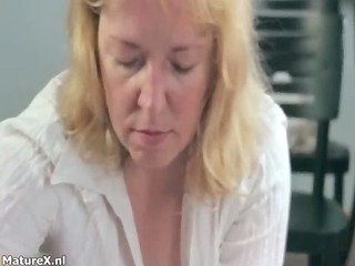 sexually excited aged golden-haired woman blows