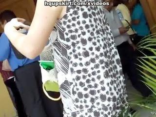 Hot blonde milf upskirting panty