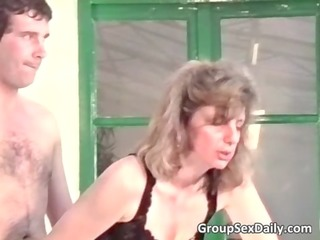 two concupiscent mature couples are fucking