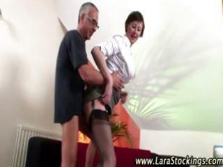 wicked aged stocking slut acquires fucked