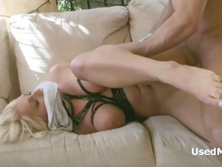 gagged golden-haired milf gets drilled savagely