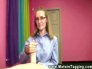 older with glasses on her knees to jerk slong
