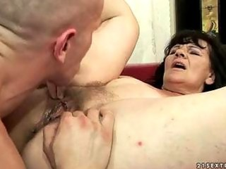 unattractive grandma getting drilled hard by