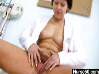 hawt milf in nurse uniform stretching unshaved