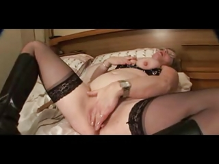 large nippled granny in nylons strips and toys