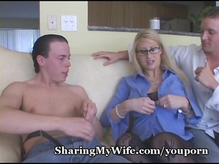 breasty golden-haired mom shared with buddy