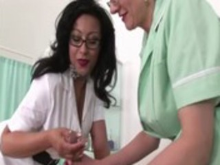 mature lascivious nurses get to work on threesome
