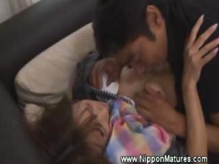 aged japanese mother i oriental receives oral