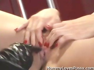 breasty blond mistress copulates her flat chested