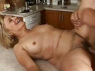 lusty granny acquires screwed hard in the kitchen