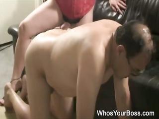 aged guy getting tortured by a busty femdom