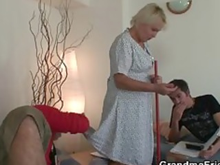 old cleaning woman takes hard dongs